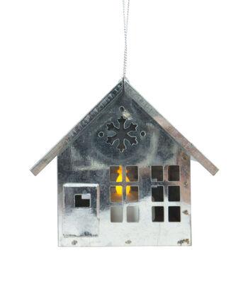 Maker's Holiday Christmas Woodland Lodge Metal House LED Light Ornament