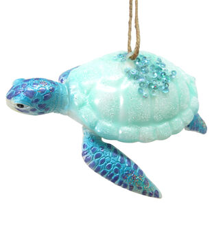 Handmade Holiday Christmas Frosty Seas Glass Turtle Ornament with Beads