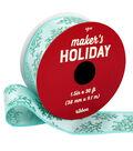 Maker\u0027s Holiday Christmas Ribbon 1.5\u0027\u0027x30\u0027-Glitter Corals on Light Blue