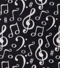 Anti-Pill Plush Fleece Fabric-Music Notes