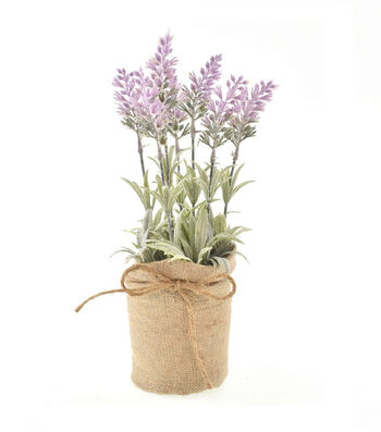 Fresh Picked Spring 12'' Lavender Arrangement in Burlap-Light Purple