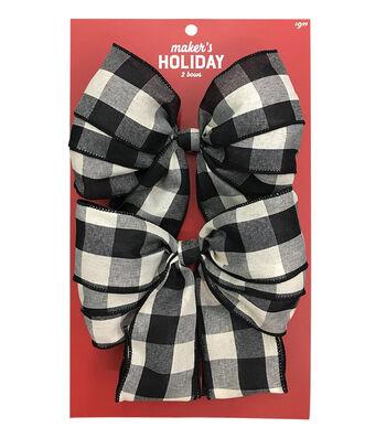 Maker's Holiday Christmas 2 pk Bows-Black & Ivory Checks