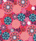 Quilter\u0027s Showcase Cotton Fabric 44\u0022-Teal Orange Medallions on Dark Pink
