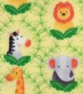 Anti-Pill Fleece Fabric -Watercolor Safari Framed