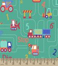 Construction Trucks Print Fabric
