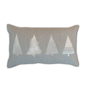 Maker's Holiday Christmas Lumbar Pillow-Flock Trees on Gray