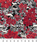 Christmas Cotton Fabric-Poinsettias with Silver Glitter