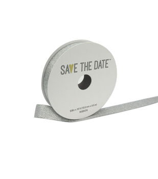 "Save the Date 5/8"" x 15ft Ribbon-Silver Metallic"