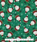 Doodles Christmas Interlock Cotton Fabric -Santa
