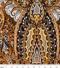 Silky Prints Fabric-Paisley Brown Rayon