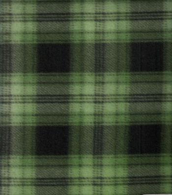 "Blizzard Fleece Fabric 58""-Green Navy Plaid"