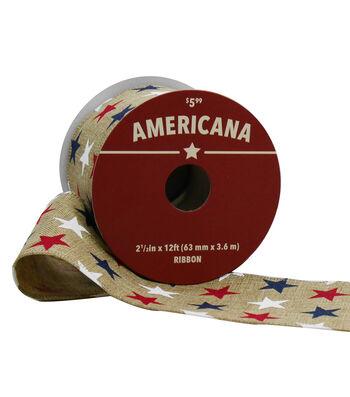 "Americana Ribbon 2.5""x12'-Red, White & Blue Stars on Natural"