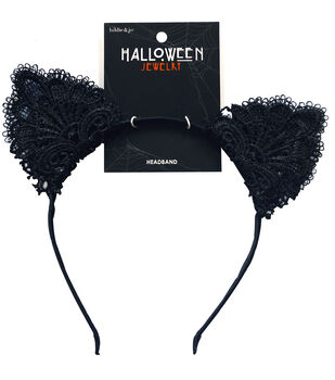 hildie & jo Halloween Headband with Lace Cat Ears-Black