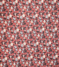 Premium Quilt Cotton Fabric-Ditsy Floral On Red 1