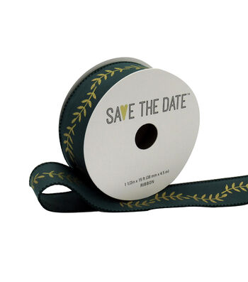 """Save the Date 1.5"""" x 15ft Ribbon-Gold Fern On Hunter"""