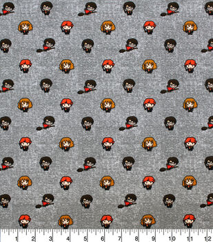 Harry Potter Knit Fabric-Little Characters on Gray