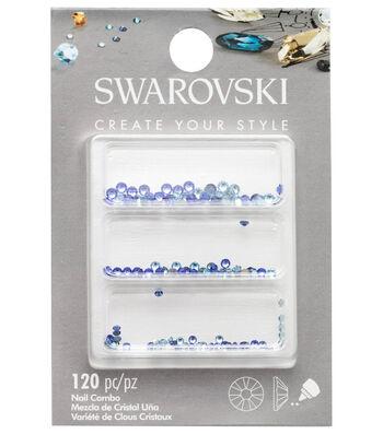 Swarovski Create Your Style 120 pk Nail Crystals-Blue Combo