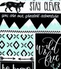 Nursery Flannel Fabric 42\u0027\u0027-Mint, Black & White Be Brave Patch