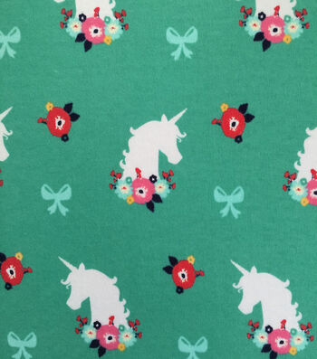 Doodles Juvenile Apparel Fabric 57''-Unicorn & Floral Interlock on Green