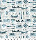 Snuggle Flannel Fabric-Lake Life Gray