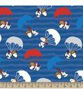 Peanuts Print Fabric-Blue Snoopy Parachuting