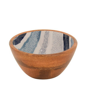 Patio Oasis Painted Wood Bowl