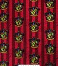 Harry Potter Fleece Fabric -Gryffindor Crest on Stripes