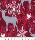 Anti-Pill Fleece Fabric 59\u0022-Snowflake Deer Red Gingham