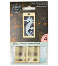 Cross Stitch Style 4 Pack Wood Charms-Dog Tag