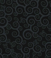 Keepsake Calico Cotton Fabric -Scroll on Black, , hi-res