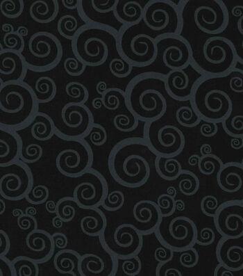 Keepsake Calico Cotton Fabric -Scroll on Black