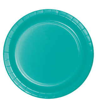 8ct Large Paper Plate-Teal