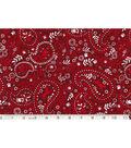 Novelty Cotton Fabric-Paisley Dog Red