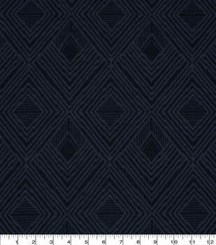 Wide Flannel Fabric-Navy Modern Diamond