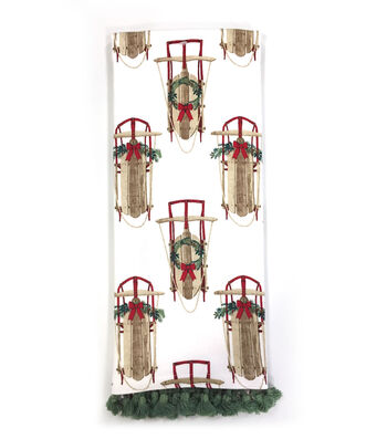 Maker's Holiday Christmas 16''x28'' Kitchen Towel-Sleds
