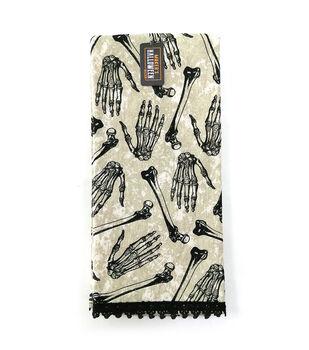 Maker's Halloween Decor 16''x26'' Towel with Trims-Tossed Skeleton Bones