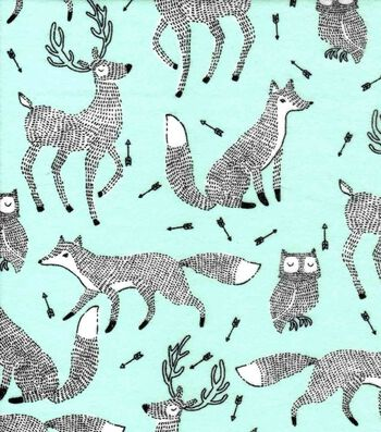 Nursery Flannel Fabric 42''-Black & White Woodland Animals on Mint