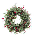 Blooming Holiday Christmas Olive Leaf & Red Berry Wreath