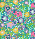 Snuggle Flannel Fabric -Bright Floral & Elephant