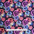 Knit Prints Double Brushed Poly Fabric-Navy Pink Purple Shana Floral
