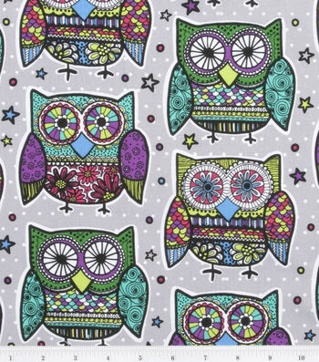 Novelty Cotton Fabric 43''-Multi Colored Owls