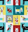 Snuggle Flannel Fabric 42\u0027\u0027-Colorful Puppy Patchwork