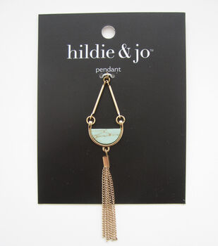 hildie & jo Gold Tassel Pendant-Green Stone