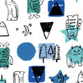 Snuggle Flannel Fabric-Happy Forest Monsters