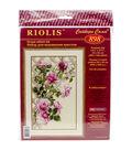 Pink Roses On Lattice Counted Cross Stitch Kit-13.75\u0022x21.75\u0022 16 Count