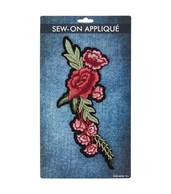 Sew-on Applique-Red Rose Vine