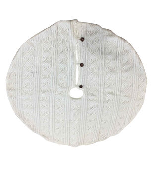 Handmade Holiday Christmas 48''x48'' Knit Tree Skirt with Buttons-White