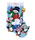 Penguin Party Stocking Felt Applique Kit-16\u0022 Long