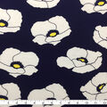 Rayon & Spandex Printed Knit Fabric-Navy, White & Yellow Big Poppies