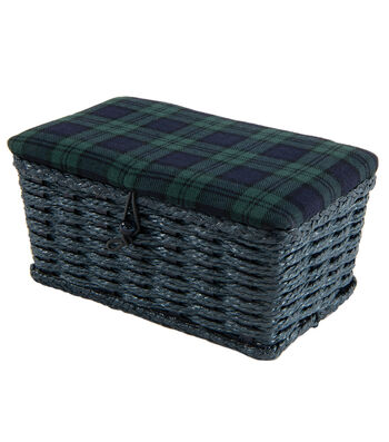 Rectangle Sewing Basket-Navy & Green Plaid